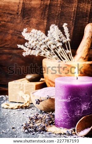 Lavender spa setting. Wellness concept - stock photo