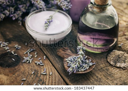 Lavender spa setting. Wellness theme with lavender products. - stock photo