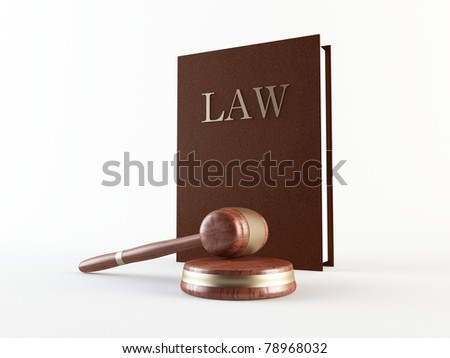 Law book and gavel - stock photo