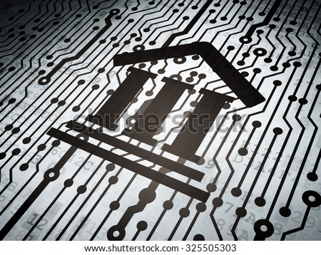 Law concept: circuit board with  Courthouse icon, 3d render - stock photo