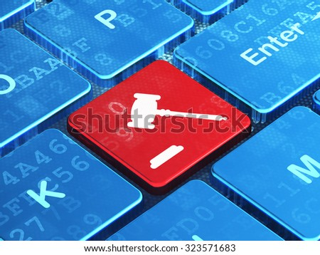 Law concept: computer keyboard with Gavel icon on enter button background, 3d render - stock photo