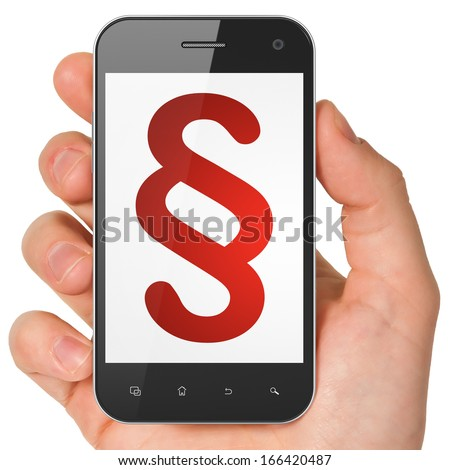 Law concept: hand holding smartphone with Paragraph on display. Mobile smart phone on White background, 3d render - stock photo