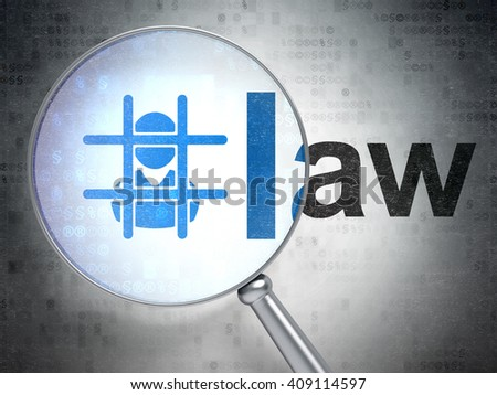 Law concept: magnifying optical glass with Criminal icon and Law word on digital background, 3D rendering - stock photo