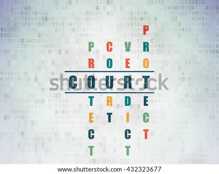 Law concept: Painted blue word Court in solving Crossword Puzzle on Digital Data Paper background - stock photo