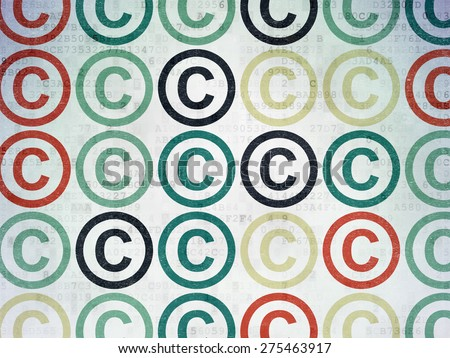 Law concept: Painted multicolor Copyright icons on Digital Paper background, 3d render - stock photo