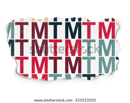 Law concept: Painted multicolor Trademark icons on Torn Paper background - stock photo