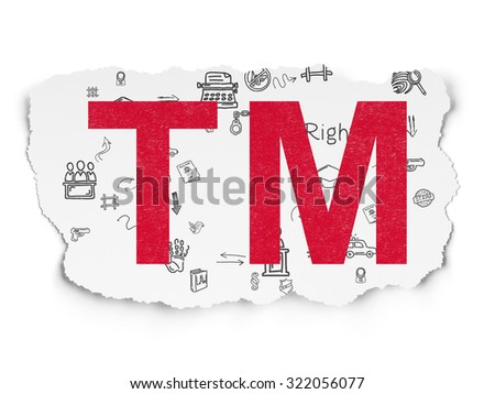 Law concept: Painted red Trademark icon on Torn Paper background with Scheme Of Hand Drawn Law Icons - stock photo