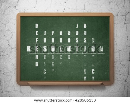 Law concept: Painted White word Resolution in solving Crossword Puzzle on School board background, 3D Rendering - stock photo