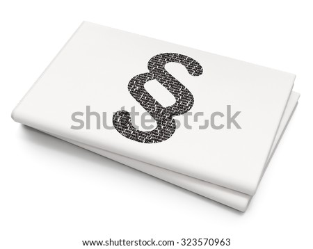 Law concept: Pixelated black Paragraph icon on Blank Newspaper background - stock photo