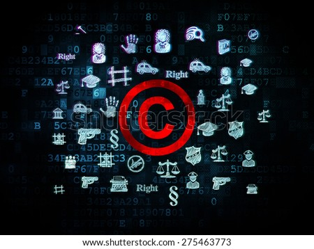 Law concept: Pixelated red Copyright icon on Digital background with  Hand Drawn Law Icons, 3d render - stock photo