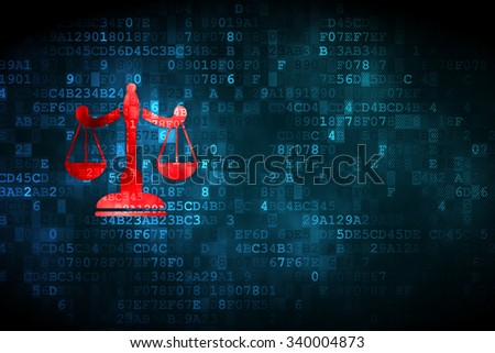 Law concept: pixelated Scales icon on digital background, empty copyspace for card, text, advertising - stock photo