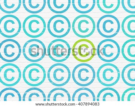 Law concept: rows of Painted blue copyright icons around green copyright icon on White Brick wall background - stock photo