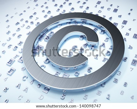 Law concept: Silver Copyright on digital background, 3d render - stock photo