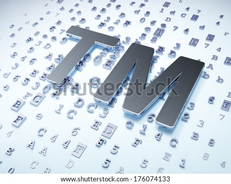 Law concept: Silver Trademark on digital background, 3d render - stock photo