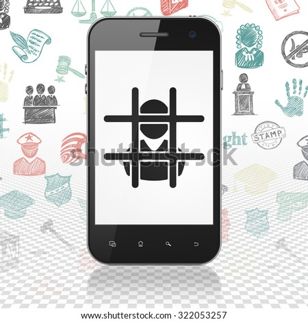 Law concept: Smartphone with  black Criminal icon on display,  Hand Drawn Law Icons background - stock photo
