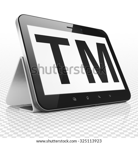 Law concept: Tablet Computer with black Trademark icon on display - stock photo