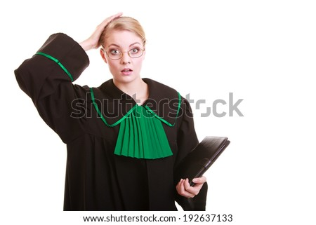 Law court or justice concept. Frustration at work. Stressed woman lawyer attorney holding her head in amazement, classic polish (Poland) black green gown file folder isolated on white background - stock photo