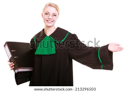 Law court or justice concept. Young woman lawyer attorney wearing classic polish (Poland) black green gown with file folder welcome invitating hand sign gesture isolated - stock photo