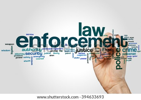 Law enforcement word cloud concept - stock photo