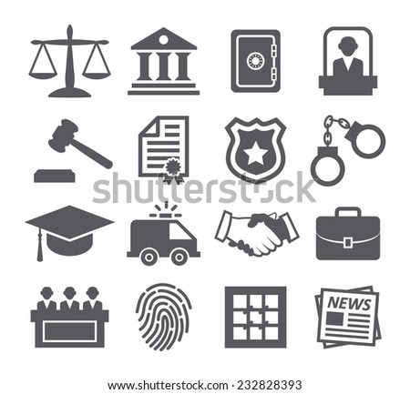 Law icons - stock photo