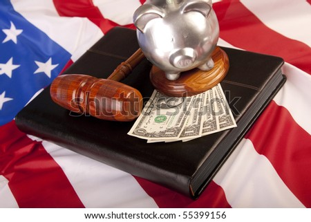 Law mallet and pig! - stock photo