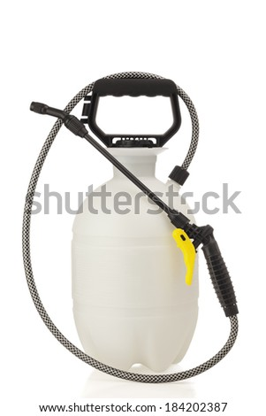 Lawn and garden pressure sprayer for dispensing fertilizer, pesticide or herbicide.  - stock photo