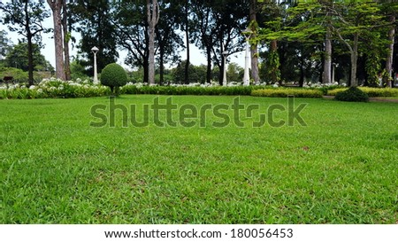 Lawn in a Peaceful Green Park - stock photo