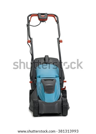 Lawn mower from front on white background with clipping path - stock photo