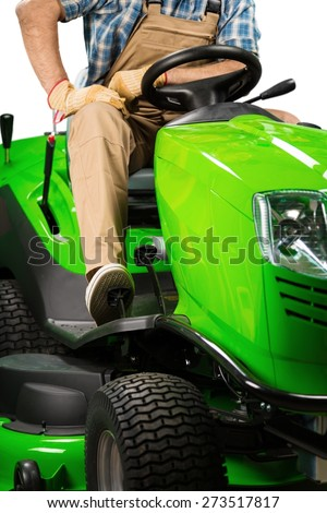 Lawn Mower. Lawn Tractor Isolated - stock photo