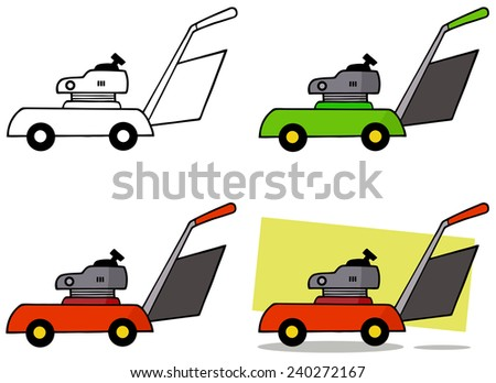 Lawn Mower. Raster Collection Set - stock photo