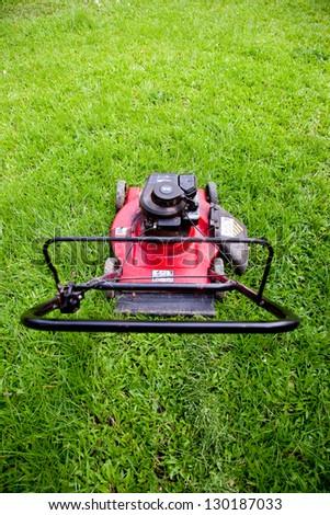 Lawn mower, top viwe - stock photo