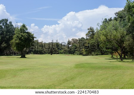 lawn of golf course - stock photo