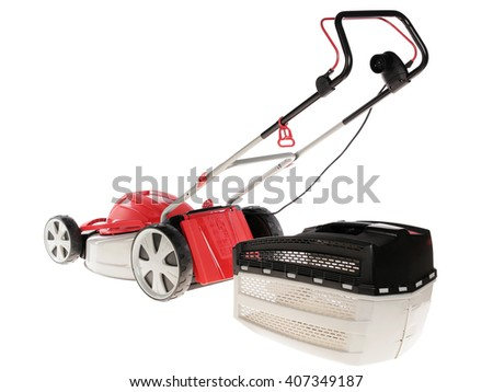 lawnmower on a white background. isolate - stock photo