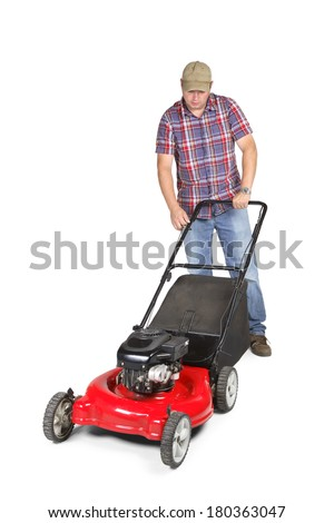 Lawnmower with man pushing - stock photo