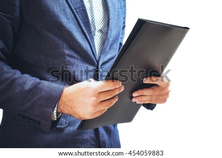 Lawyer reading legal contract agreement, person in elegant business suit examining document. On white isolated background. - stock photo