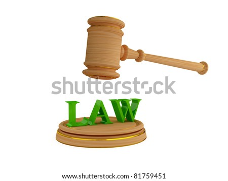 Lawyer's hammer and word LAW. 3d rendered. Isolated on white background. - stock photo