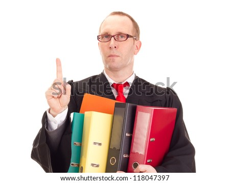 Lawyer with a lot of work - stock photo