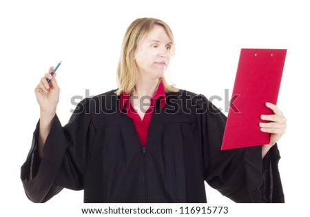 Lawyer with red clipboard - stock photo