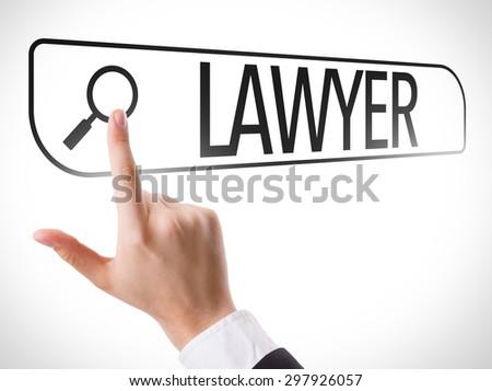 Lawyer written in search bar on virtual screen - stock photo