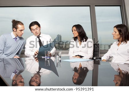 Lawyers negotiating in litigation - stock photo