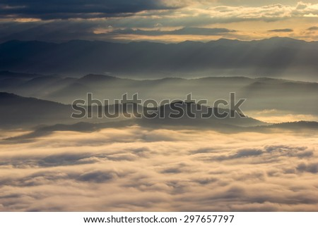 Layer of mountains in the mist at sunrise time, Sri Nan National Park, Nan Province, Thailand - stock photo