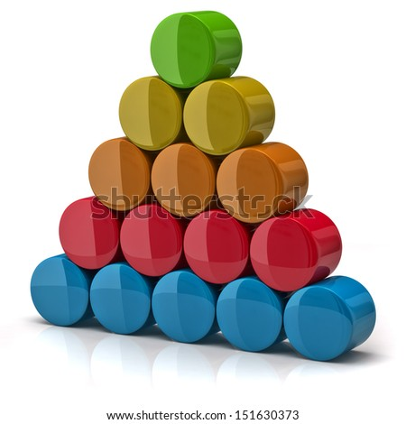 Layer pyramid made from colorful cylinders - stock photo