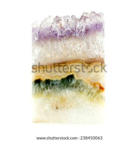 Layered amethyst quartz natural gem with agate - stock photo