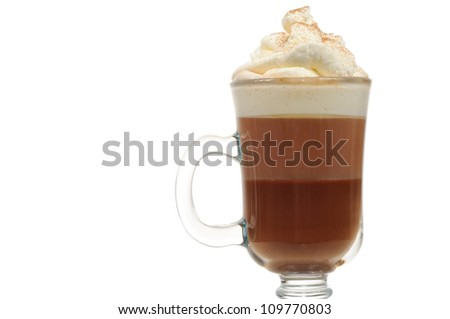 Layered Chocolate Cocktail with Whipped Cream in Glass - stock photo
