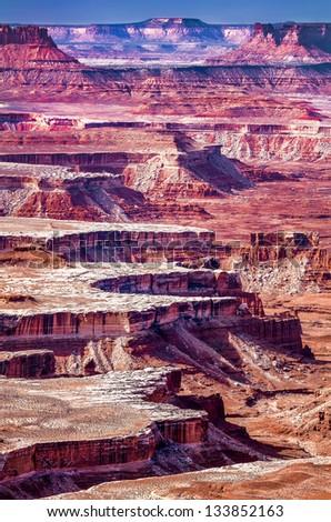 Layered cliffs and canyons near Moab, Utah - stock photo