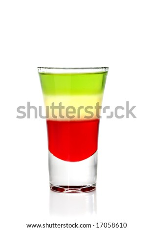 Layered Cocktail Shooter made of Absinthe, Lemon Fresh, Grenadin.  Isolated on White Background - stock photo