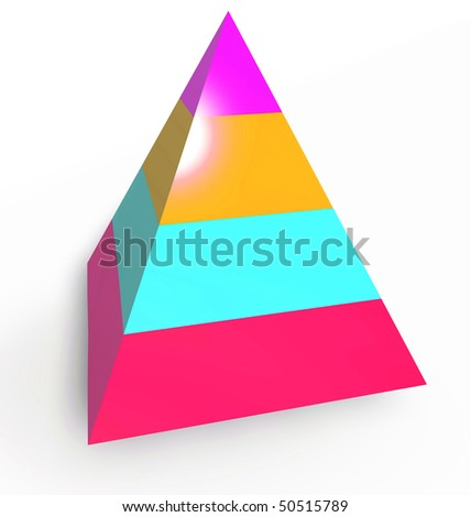 Layered heirarchy pyramid illustration, 3d colored - stock photo