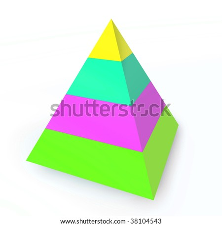 Layered hierarchy pyramid illustration, 3d colored - stock photo
