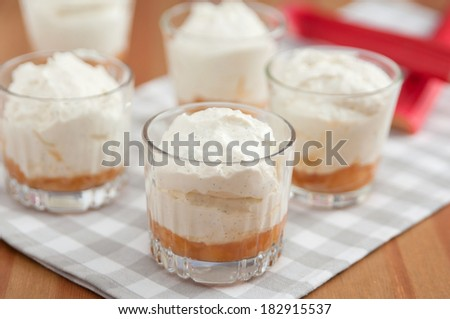 Layered rhubarb dessert creme - stock photo