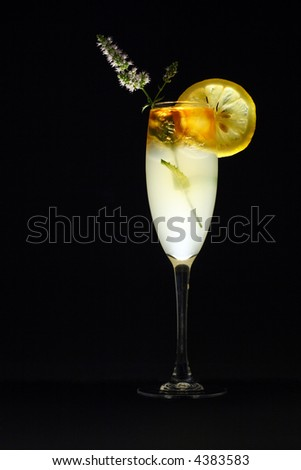 Layered rum cocktail with lemon slice and mint blossom decoration - stock photo